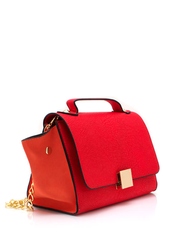 Faux Leather Structure Bag RED