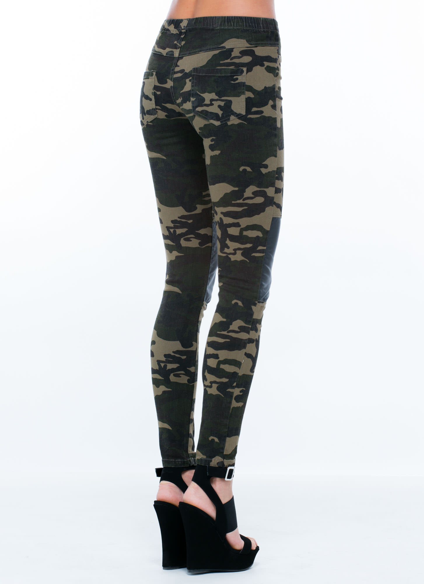 Faux Leather Inset Camo Jeggings OLIVEBLACK