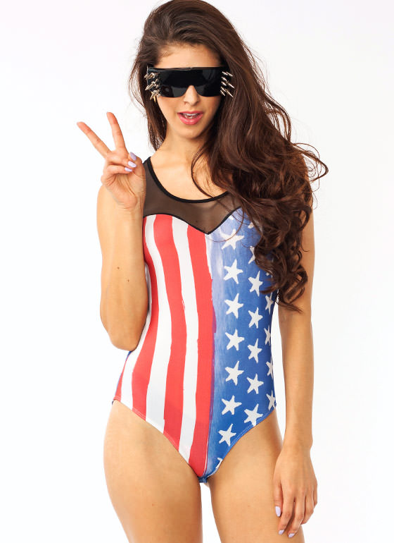 American Flag Mesh Bodysuit REDBLUE