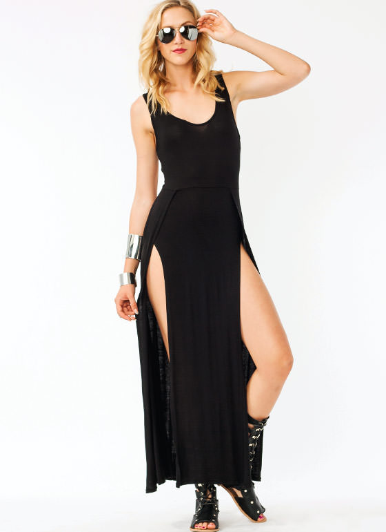 Crisscross Slit Maxi Dress BLACK