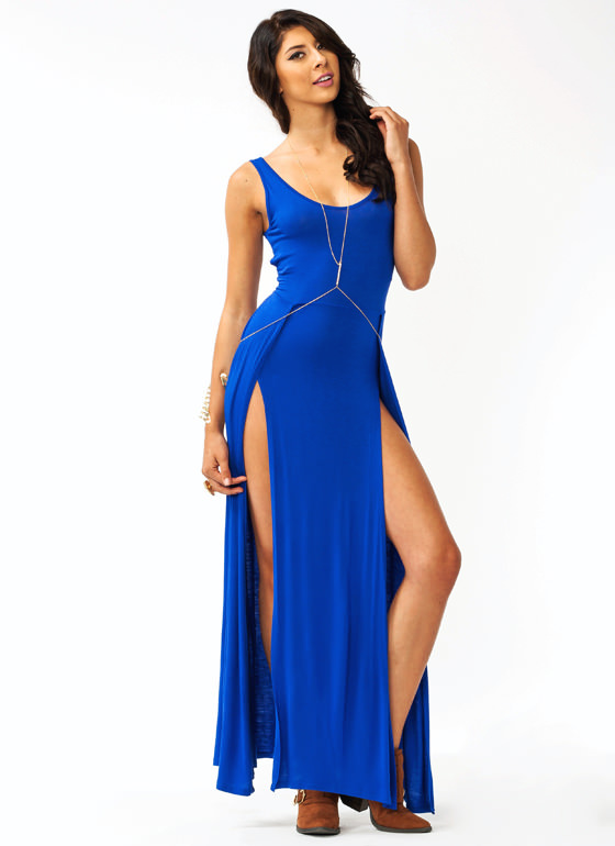 Crisscross Slit Maxi Dress ROYAL