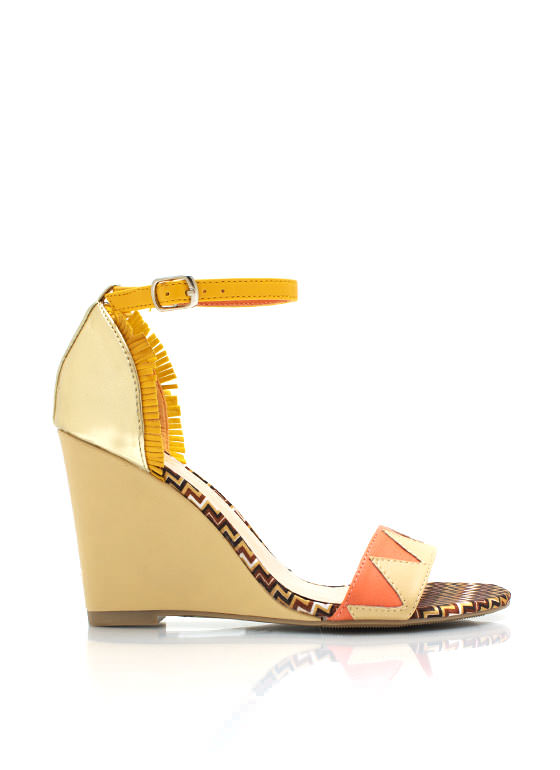 Colorblock Zigzag Wedges NUDEMULTI