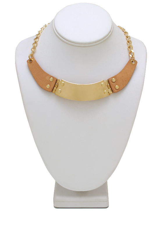 Faux Leather Accent Necklace Set GOLDBLUSH