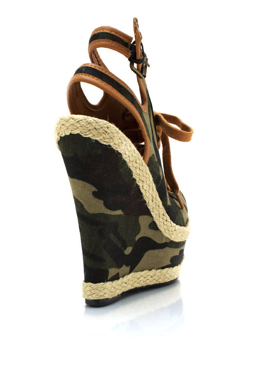 Lace Up Camo Peep Toe Wedges OLIVE