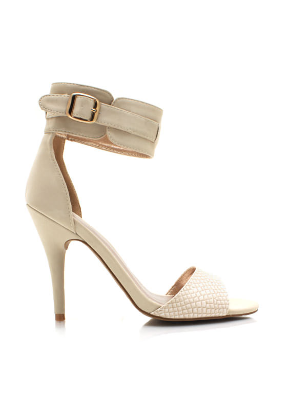 Faux Nubuck Reptile Accent Heels STONE