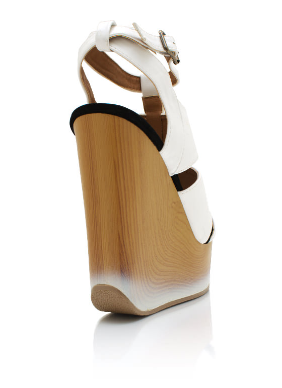 Faux Leather Dip Dye Wedges WHITE