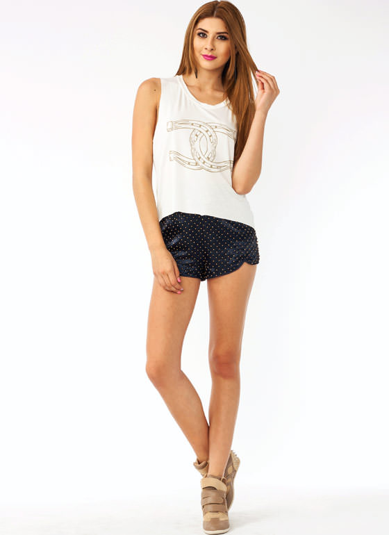 Beaded Sateen Shorts NAVY