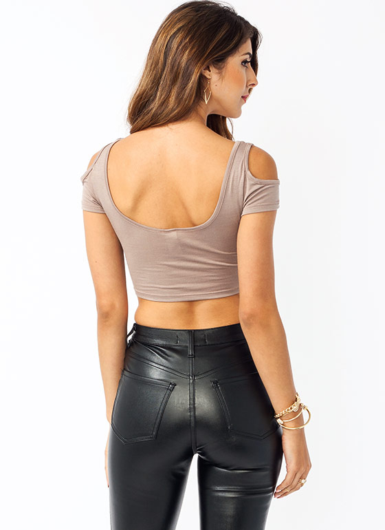 Cold Shoulder Cropped Top COCOA