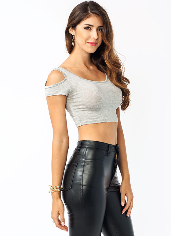 Cold Shoulder Cropped Top HGREY