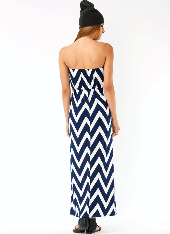 Draped Zig Zag Maxi Dress IVORYNAVY