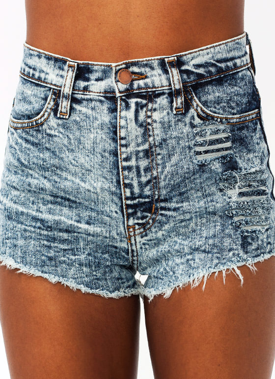 Distressed Mineral Wash Shorts BLUE