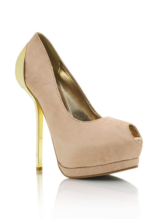 Metal Accent Peep Toe Heels BEIGE