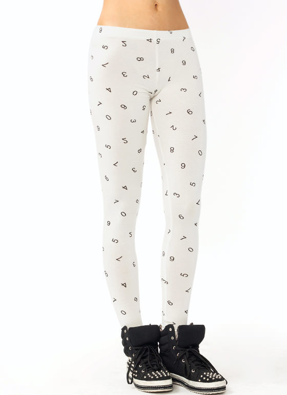 Number Print Leggings OFFWHITE (Final Sale)