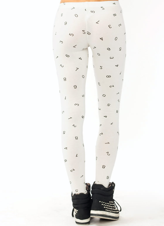 Number Print Leggings OFFWHITE