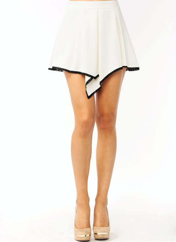 Pleated Lace Trim Mini Skirt OFFWHITE