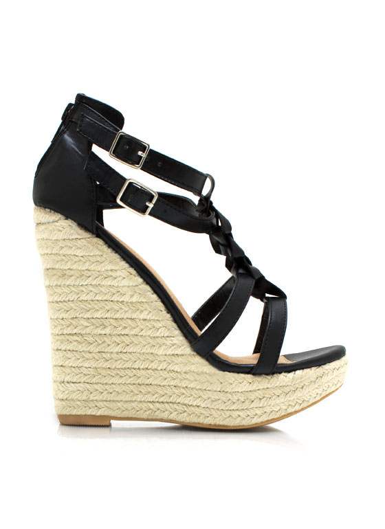 Braided Strappy Espadrille Wedges BLACK