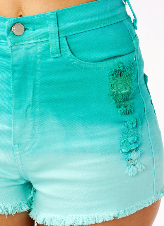 Ombre High Waisted Shorts MINT