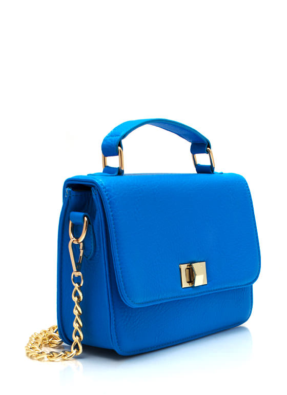 Textured Faux Leather Clutch BLUE