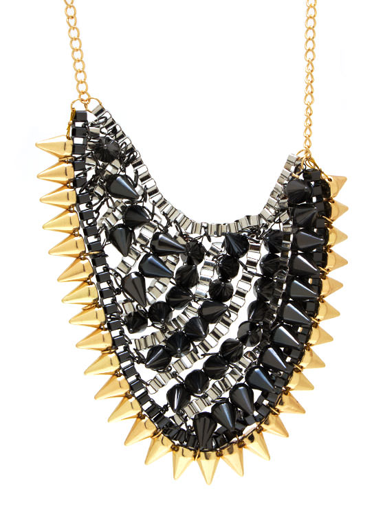 Spiked Box Chain Necklace Set GOLDPEWTER