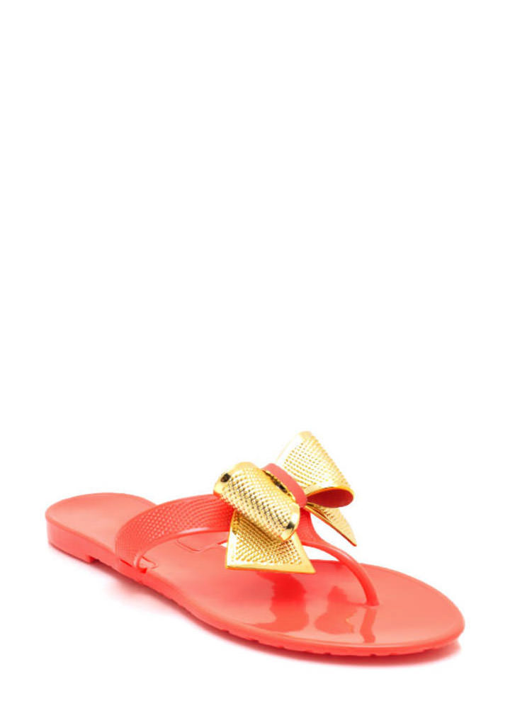 Bow Accented Jelly Sandals CORAL