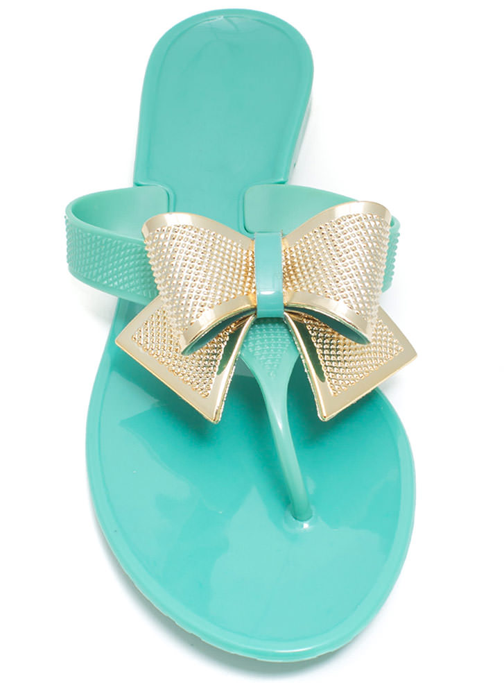 Bow Accented Jelly Sandals MINT