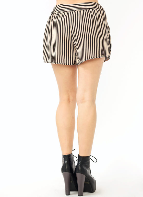 Striped Pocket Shorts KHAKIBLACK