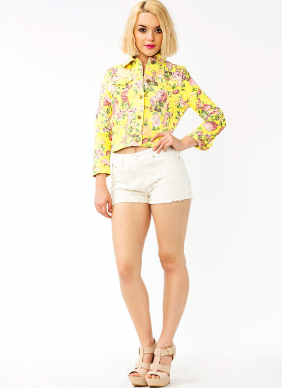 Crochet Flower Denim Shorts IVORY (Final Sale)