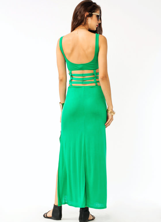 Cage Maxi Dress GREEN