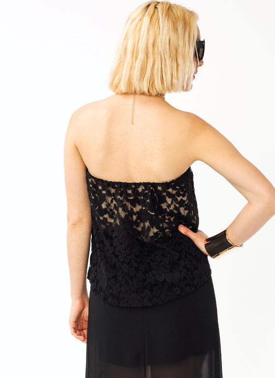 Draped Lace Tube Top BLACKBEIGE
