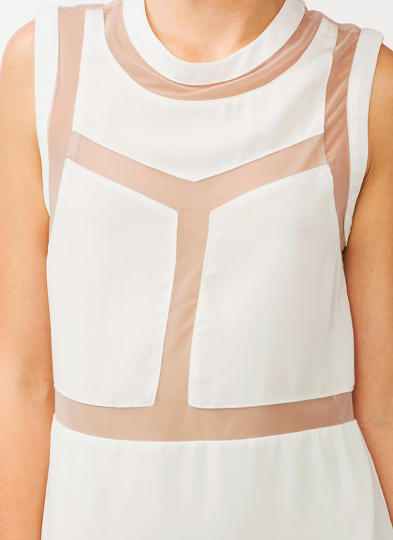 Mesh Back Shift Dress OFFWHITE