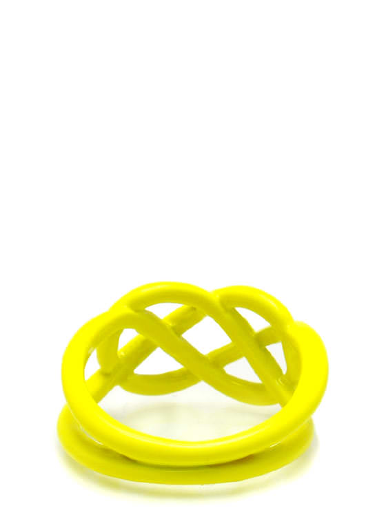Twisted Cut Out Ring NEONYELLOW