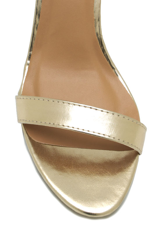 Metallic Ankle Strap Heels GOLD