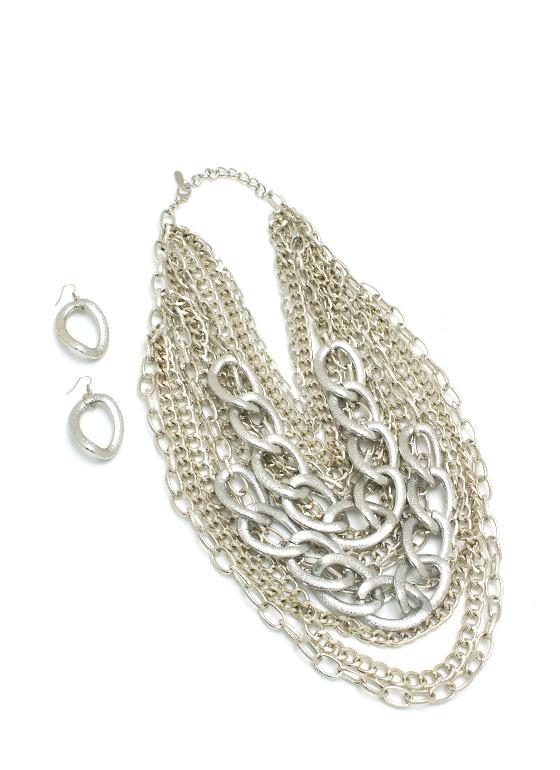 Layered Oversized Chain Necklace Set SILVER