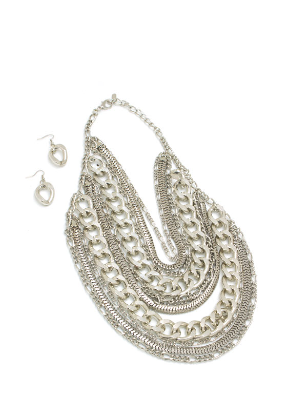 Layered Chain Necklace Set SILVER (Final Sale)