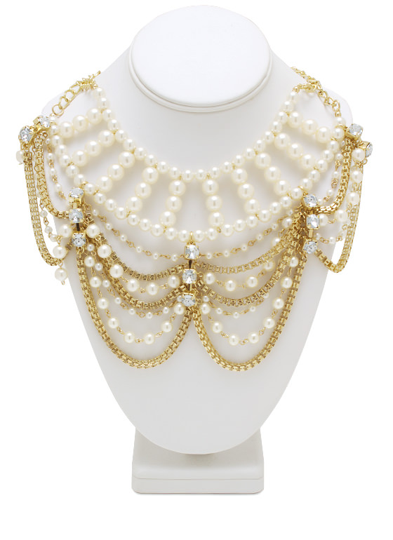 Layered Chain Pearl Bib Necklace GOLDIVORY