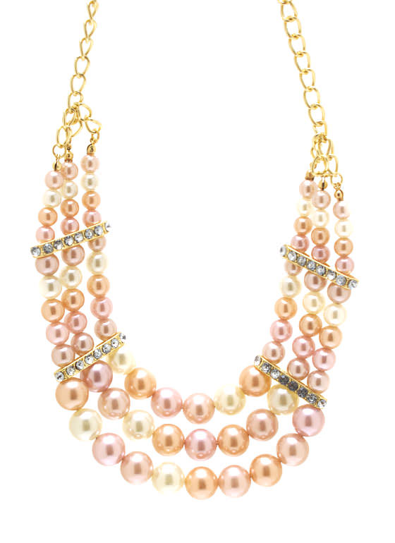 Embellished Layered Bead Necklace Set BLUSHGOLD