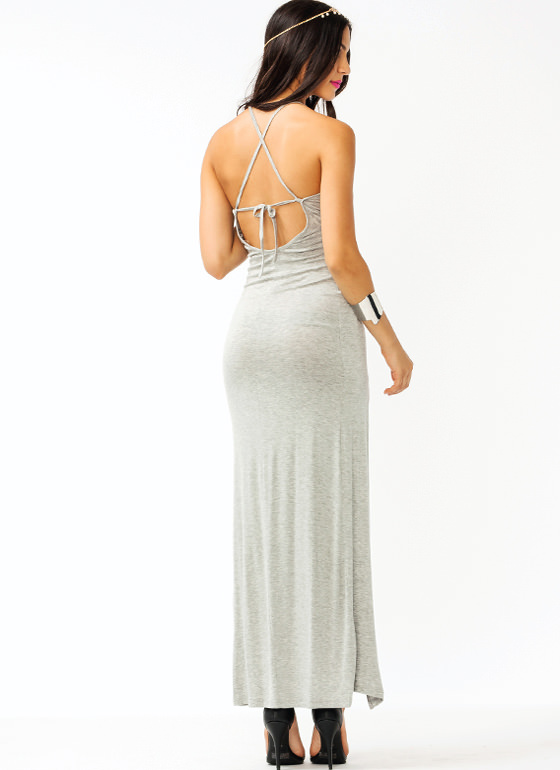 Crisscross Slit Maxi Dress HGREY