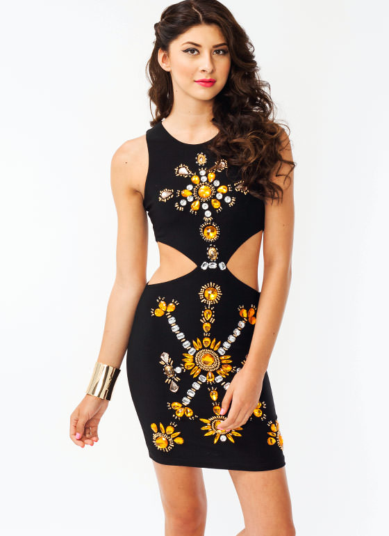 Jewel Embellished Cut Out Dress BLACK