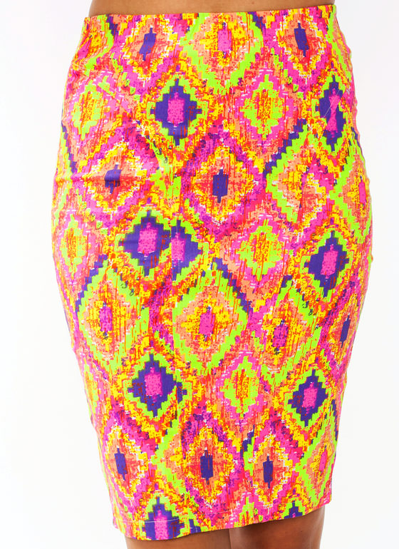 Pixelated Diamond Print Pencil Skirt ORANGELIME