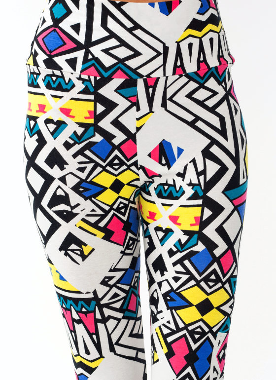 Abstract High Waisted Leggings YELLOWBLK