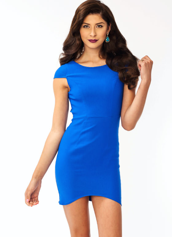 Open Back Cap Sleeve Dress ROYAL