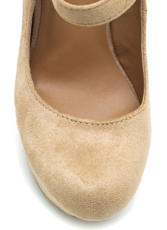 Faux Suede Mary Jane Wedges OATMEAL