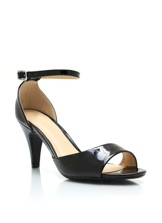 Faux Patent Open Toe Heels BLACK