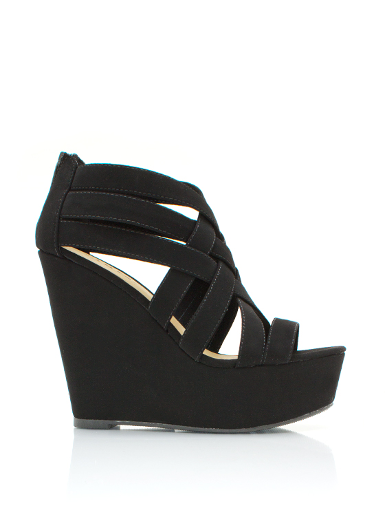 Caged Wedges BLACK