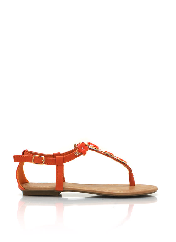 Embellished Flower T Strap Sandals ORANGE
