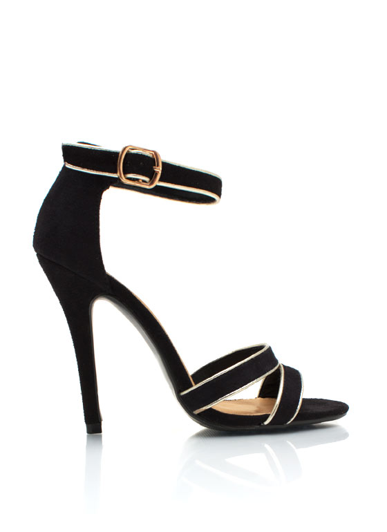 Metallic Accent Ankle Strap Heels BLACK