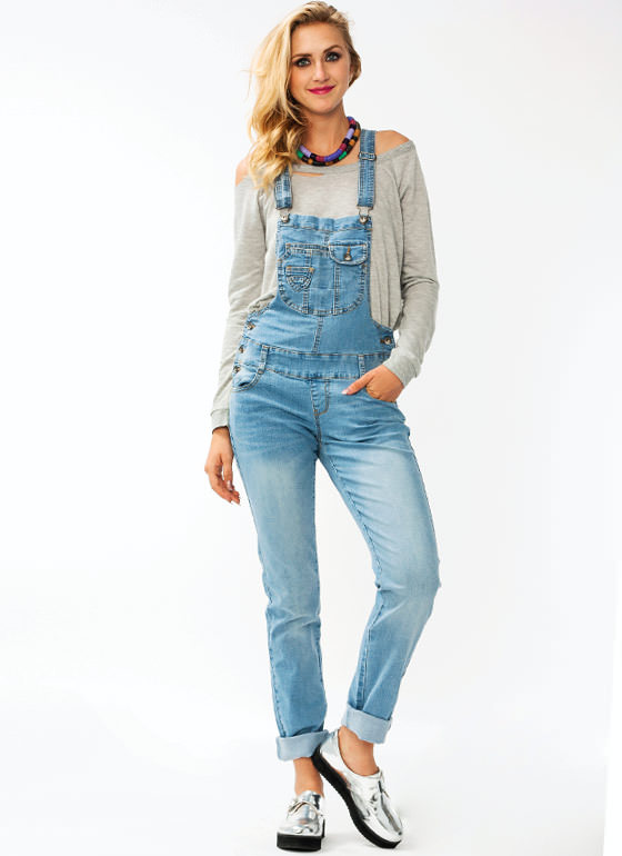 Multi Pocket Denim Overalls BLUE