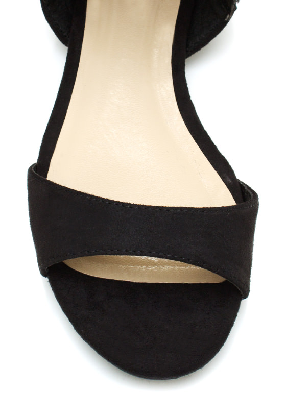 Teardrop Faux Suede Sandals BLACK