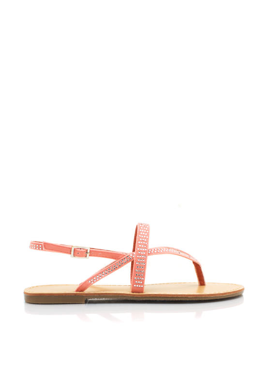 Embellished Strappy Thong Sandals MELON