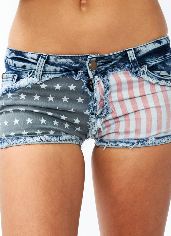 American Flag Denim Shorts GREYRED